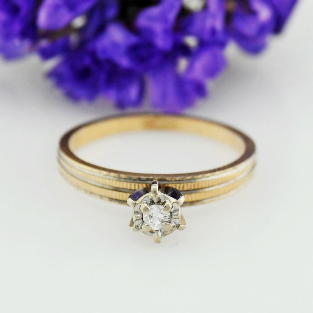 14k Yellow Gold Vintage Textured Diamond Engagement Ring Size 5.25