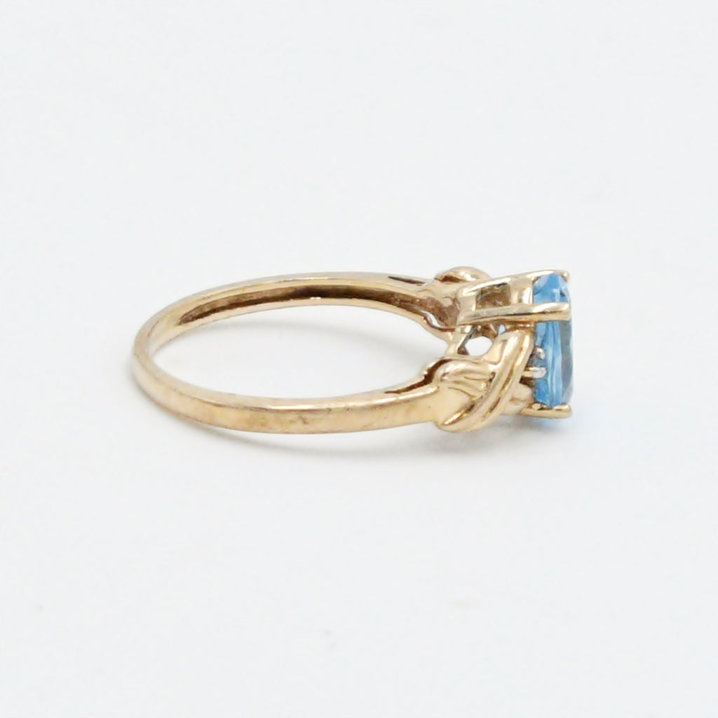 10k Yellow Gold Estate Blue Topaz & Diamond Ring Size 6.5