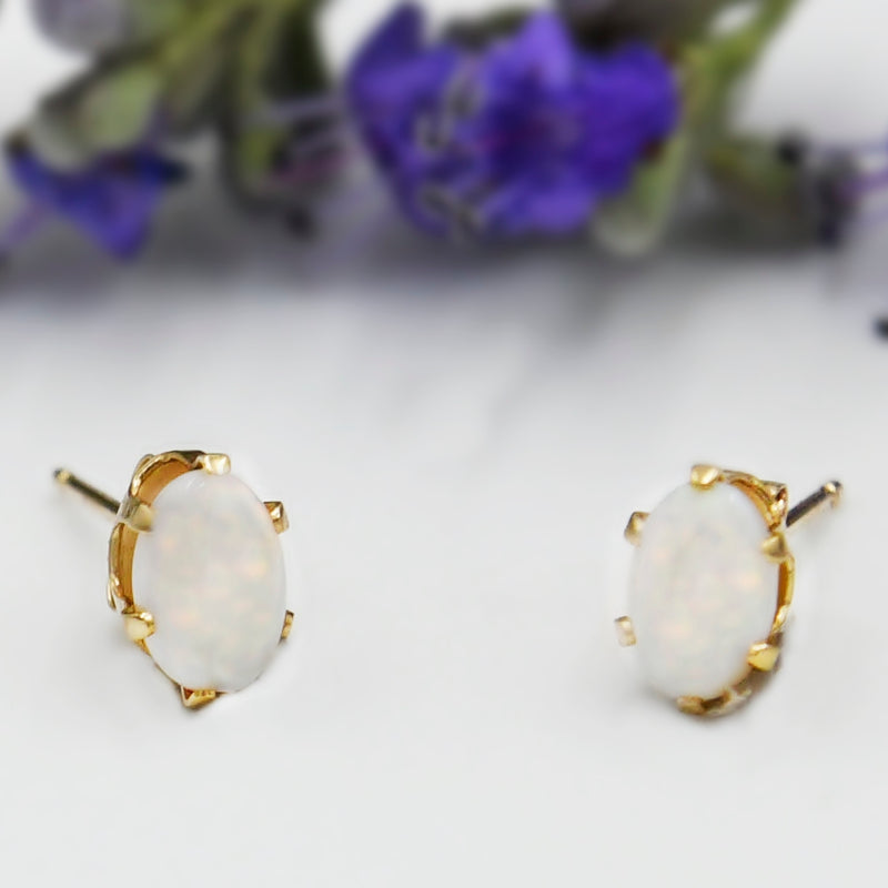 14k Yellow Gold Estate Fire Opal Gemstone Post Earrings