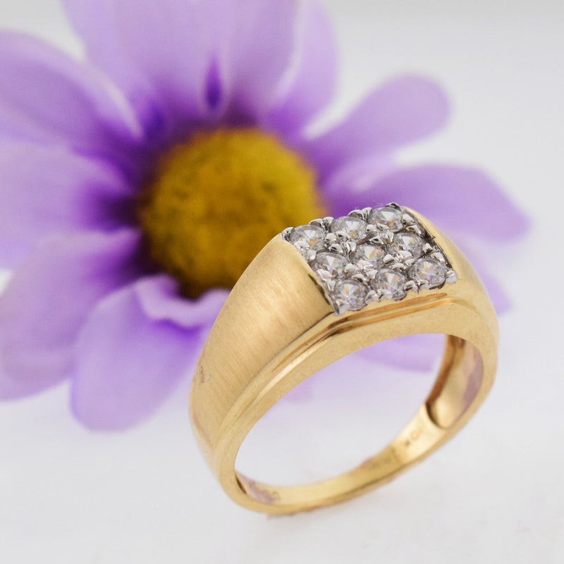 10k Yellow Gold Estate Square CZ Ring Size 12.5