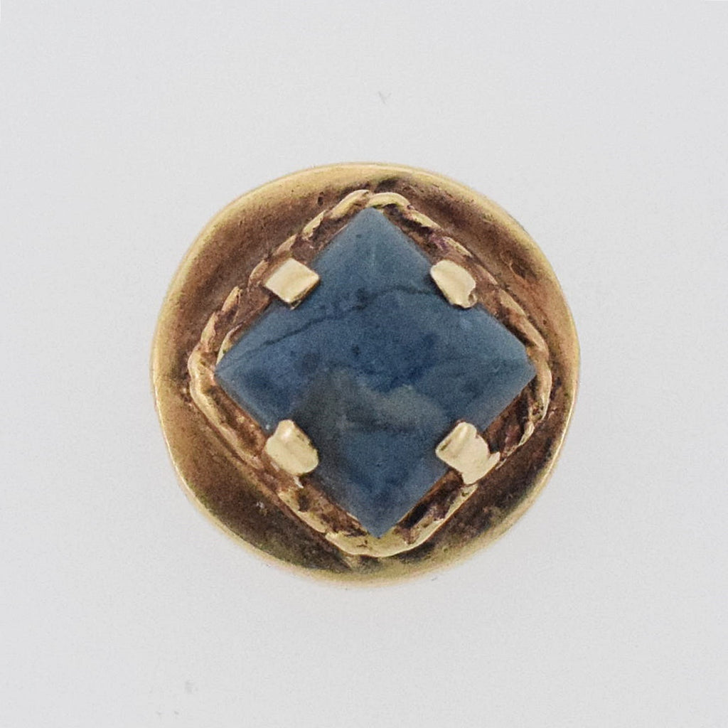 14k Yellow Gold Antique Blueish/Gray Agate Slide