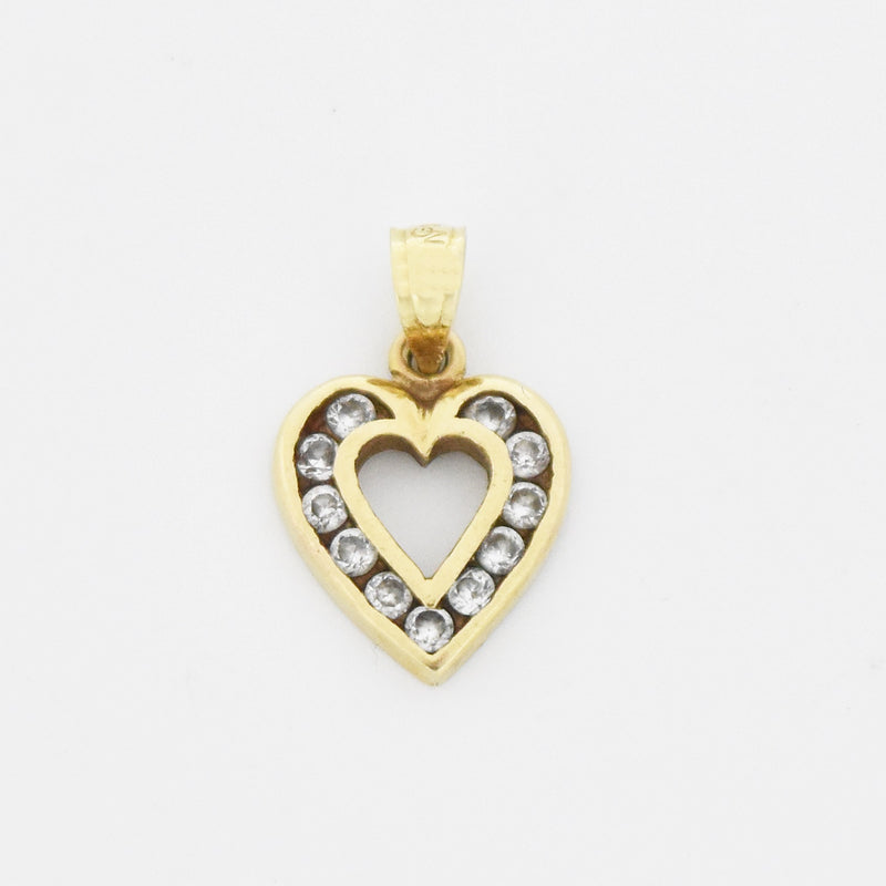 10k Yellow Gold Estate Open Heart CZ Pendant