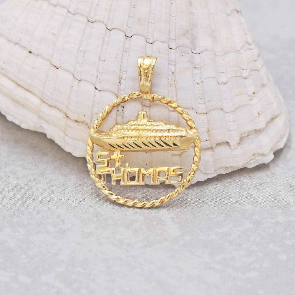 14k Yellow Gold Estate Open St. Thomas Cruise Ship Pendant