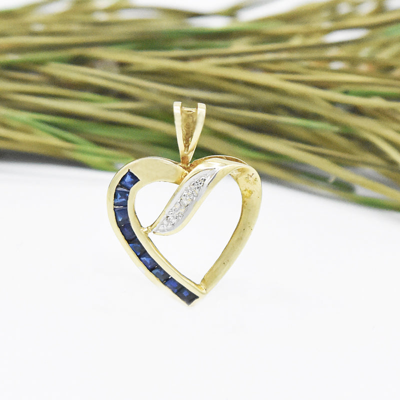 10k Yellow Gold Estate Sapphire & Diamond Open Heart Pendant