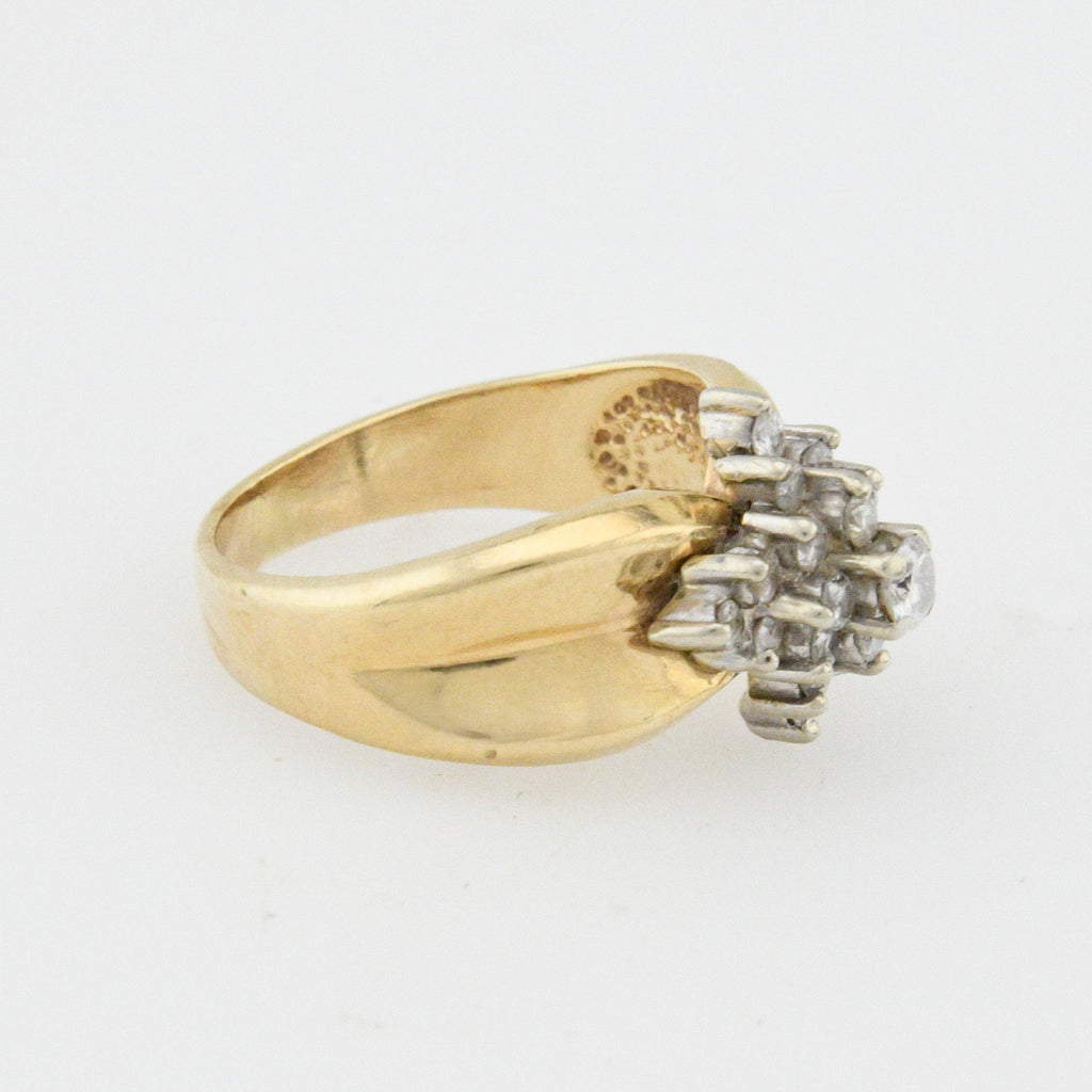 14k Yellow Gold Estate Diamond Cluster Ring Size 6