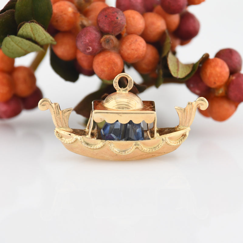 14k Yellow Gold Estate Fancy Boat & Blue Gemstone Charm/Pendant