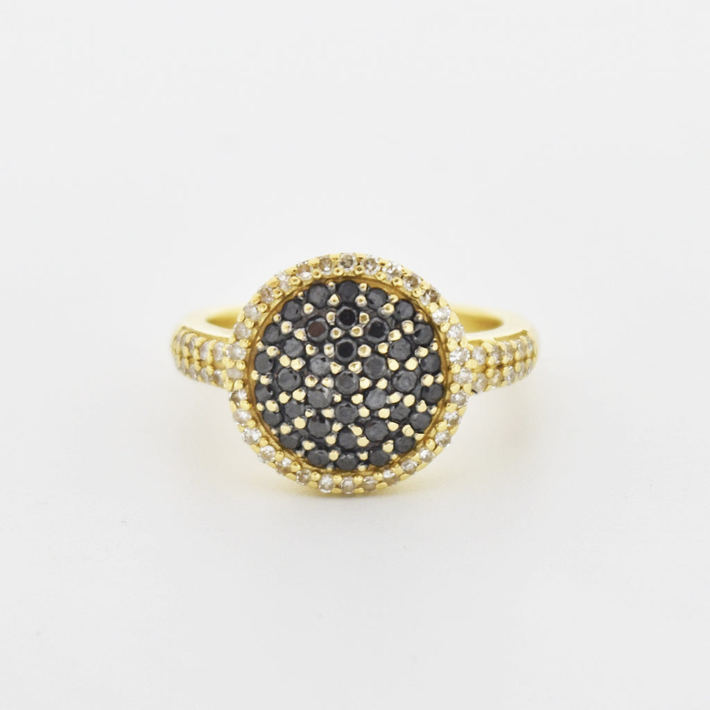 14k Yellow Gold Estate Black & White Diamond Cluster Ring Size 5.25