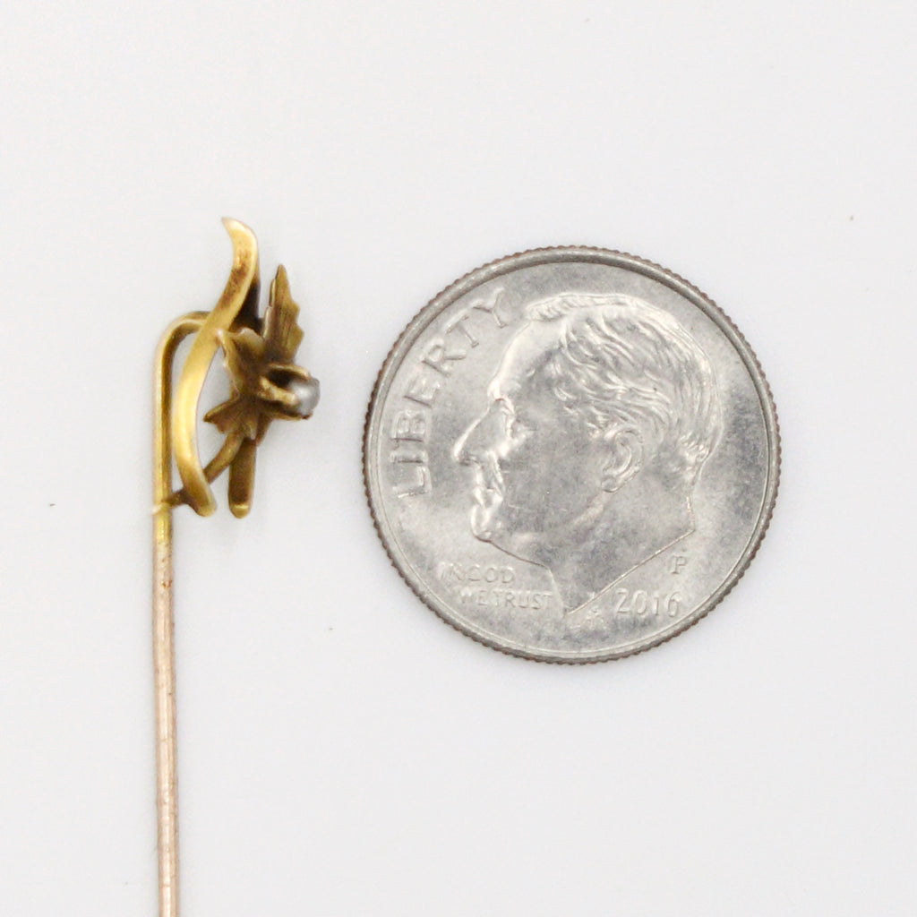 10k Yellow Gold Antique Pearl Flower Nature Stick Pin