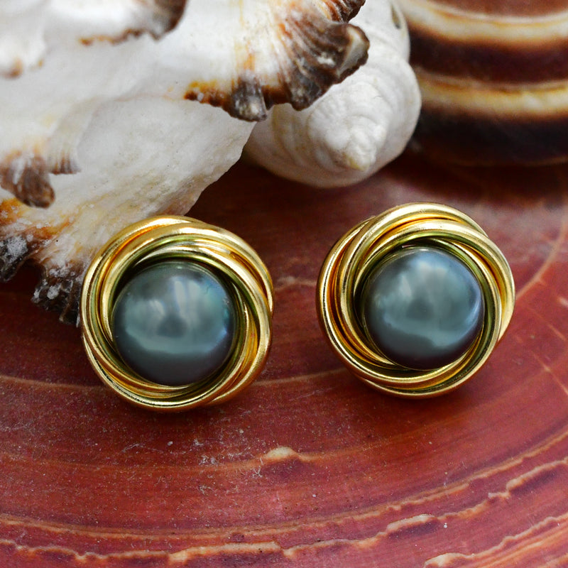 14k Yellow Gold 9 mm Black Pearl Gemstone Nest Style Post Earrings