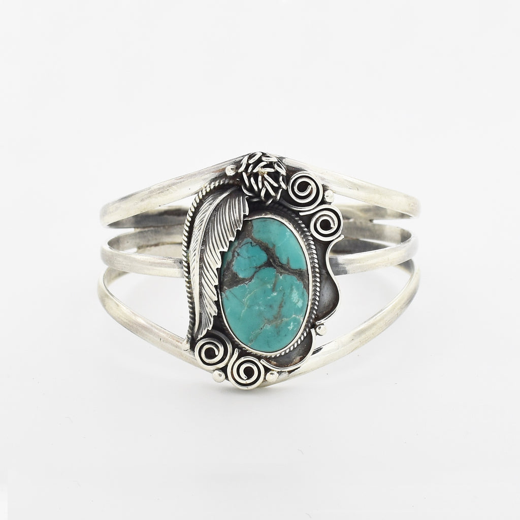 Sterling Silver 925 Ornate Leaf Oval Turquoise Open Work Cuff Bracelet