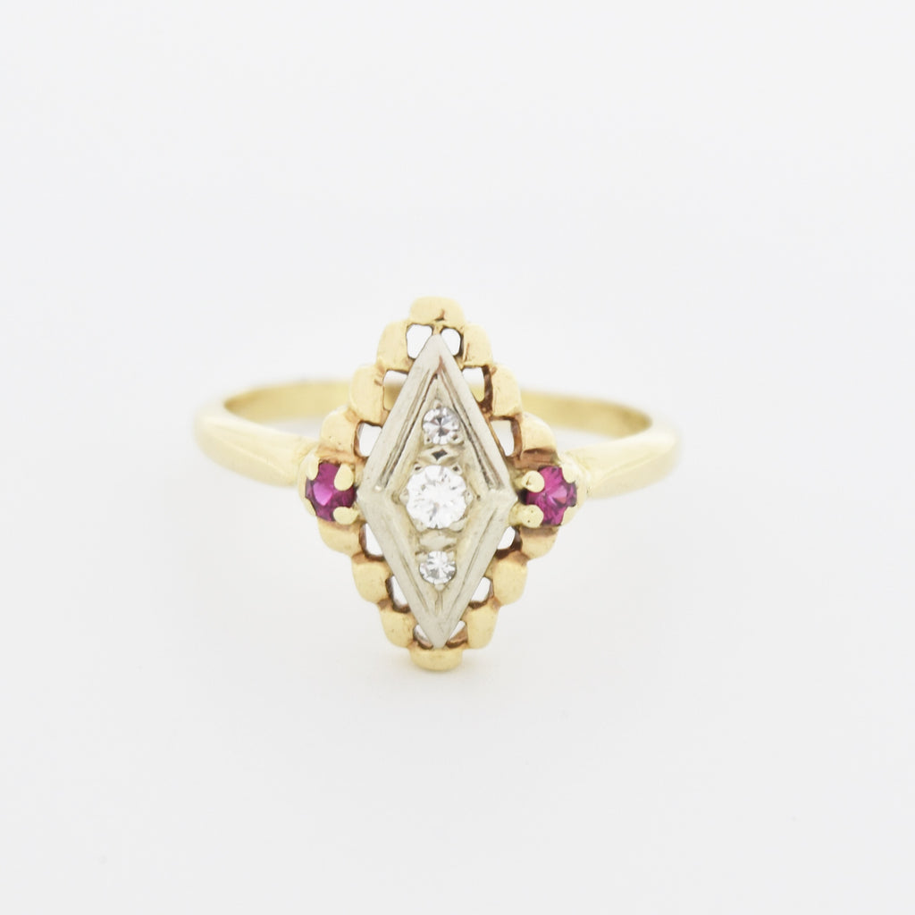 14k Yellow/White Gold Antique Ornate Diamond & Ruby Ring Size 9.5