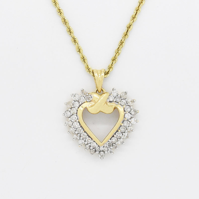 "14k Yellow Gold 20.5"" Toggle Chain With Diamond Heart Pendant"