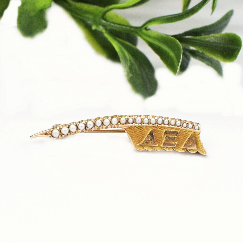 10k Yellow Gold Antique Textured Pearl Frat PIn