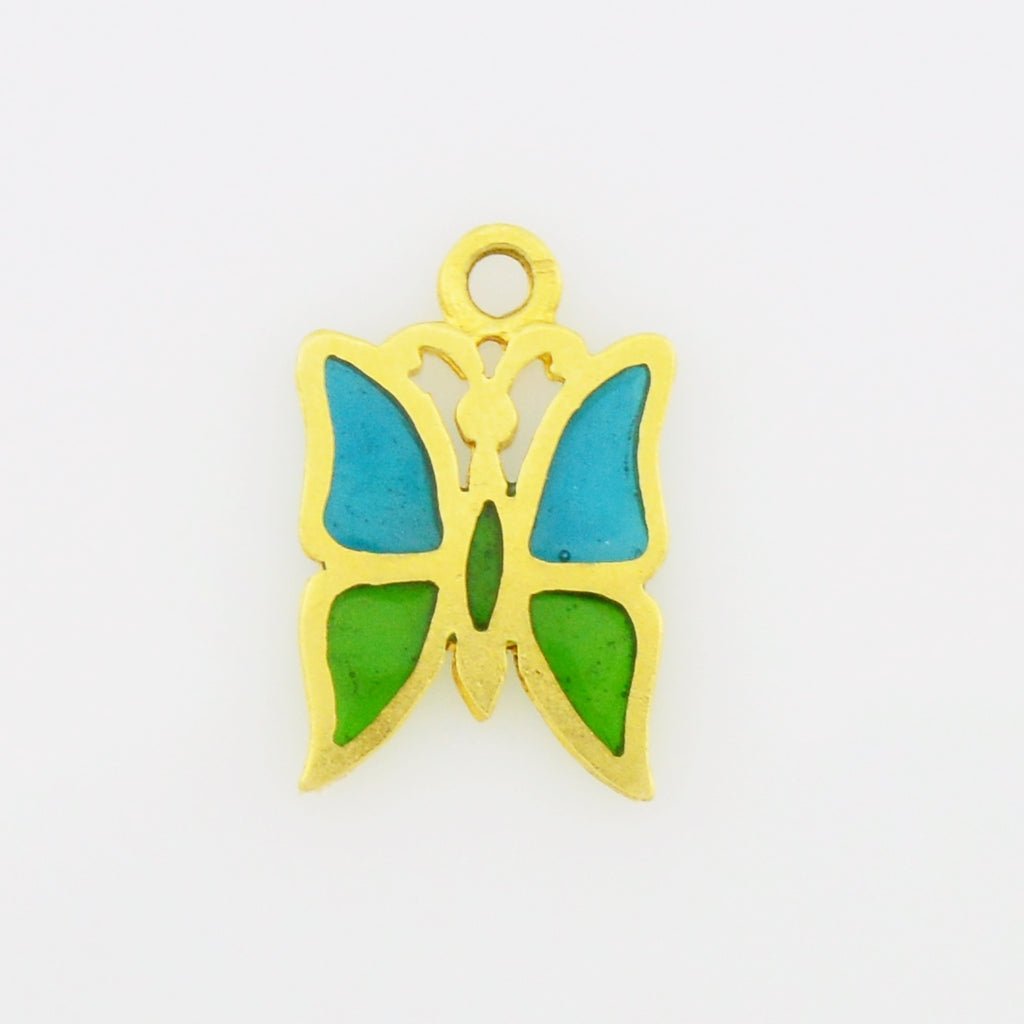 14k Yellow Gold Estate Plique-A-Jour Butterfly Animal Pendant