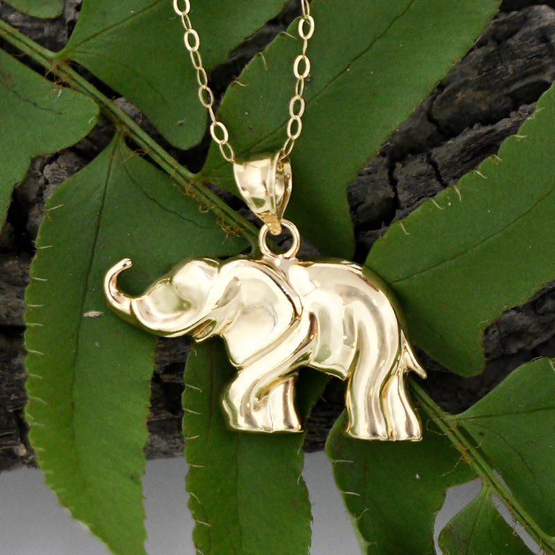 "10k Yellow Gold Estate Rolo Link Elephant Animal Necklace 18"" Long"