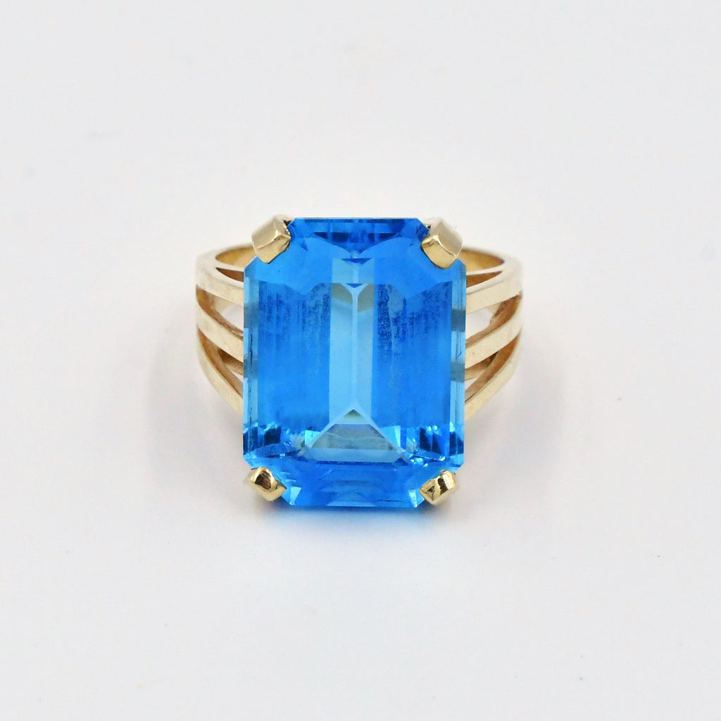 14k Yellow Gold Estate Open Band Blue Topaz Cocktail Ring Size 8