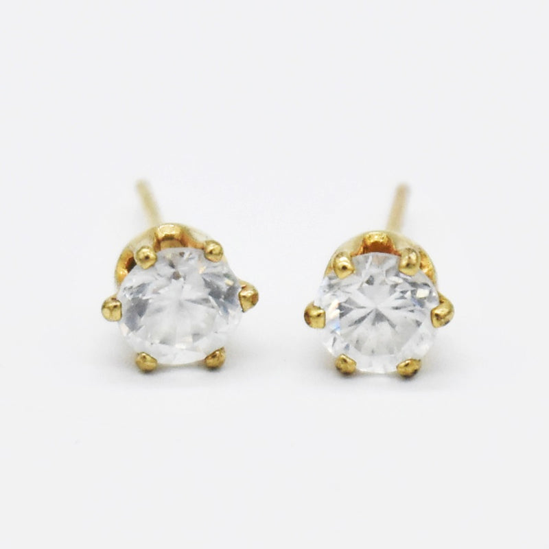 14k Yellow Gold White Gemstone Stud/Post Earring