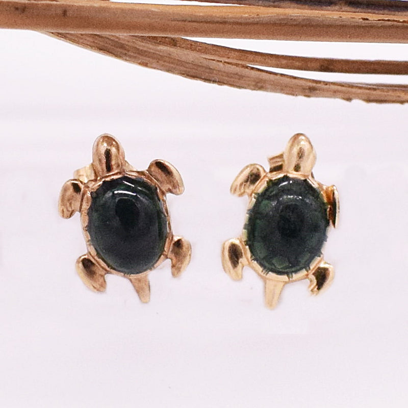 14k YG Green Enamel Turtle Post Earrings