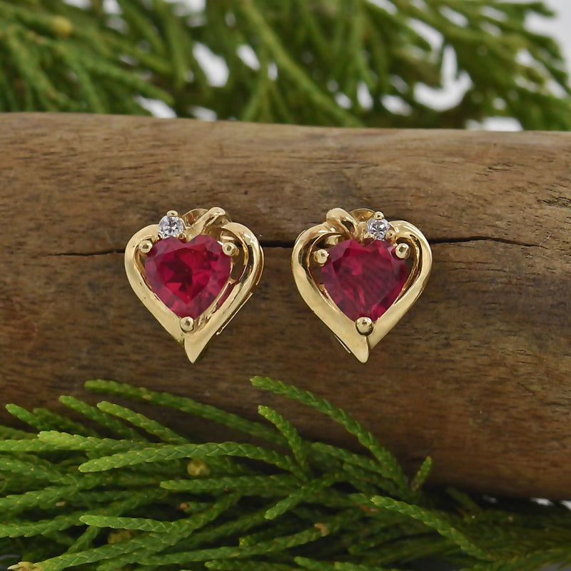 10k Yellow Gold Estate Ruby & CZ Heart Post Earrings