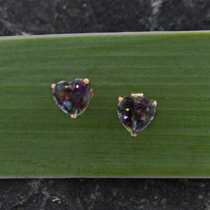 14k Yellow Gold Estate Heart Shape Mystic Topaz Gemstone Post Earrings