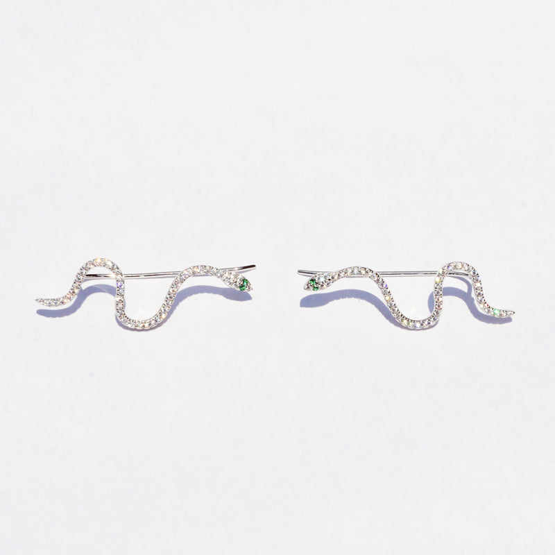 New Sterling 925 Slithering Snakes Animal CZ Threader Climber Earrings