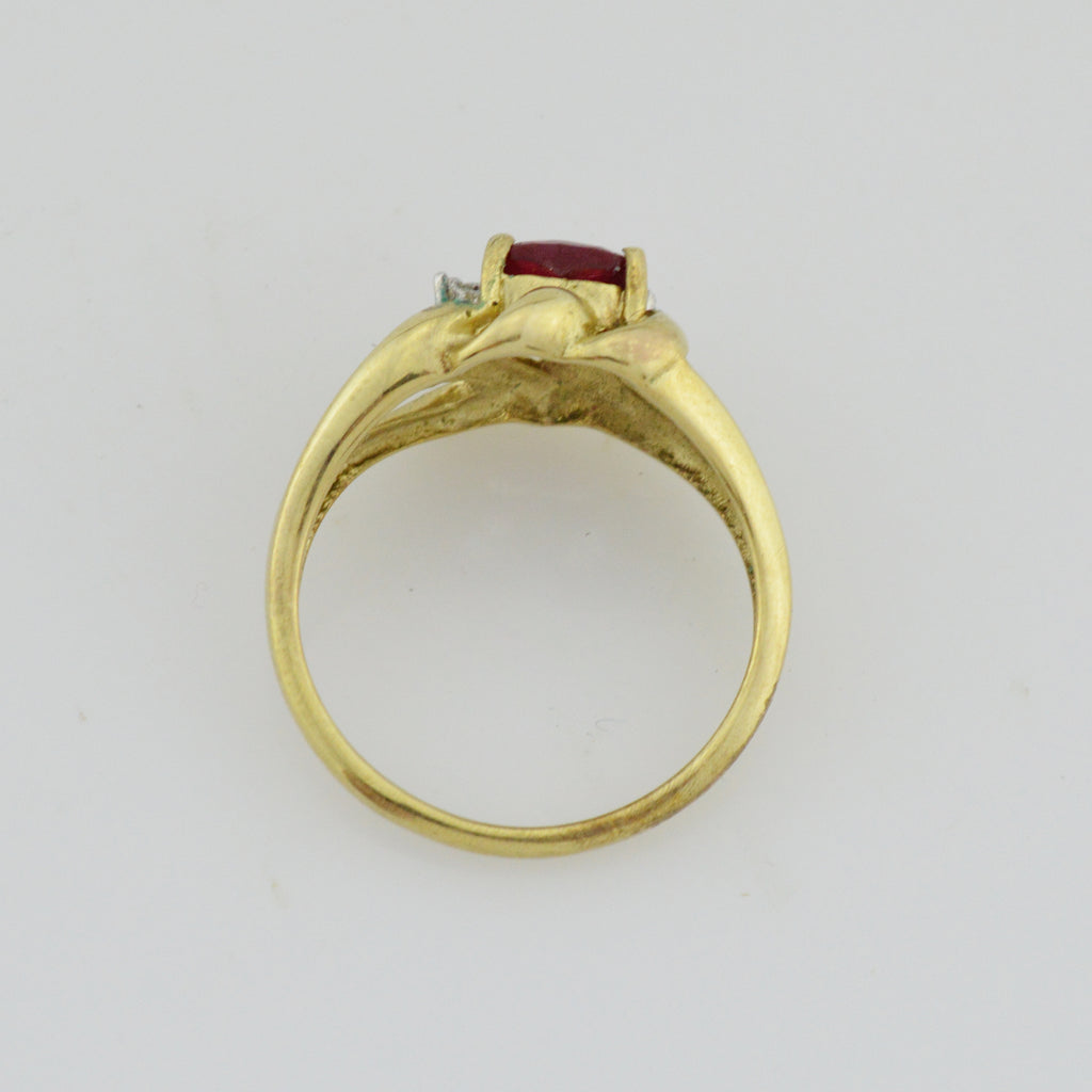 10k Yellow Gold Heart Shaped Ruby & Diamond Multistone Ring Size 6.5