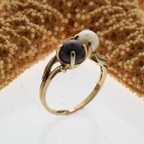 10k Yellow Gold Estate Vintage Black & White Pearl 5.5 mm Ring Size 6