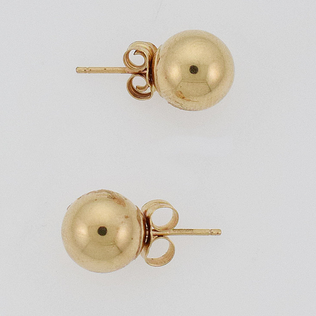 14k Yellow Gold Estate Ball Post Studs/Stud Earrings