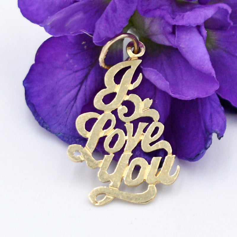 14k Yellow Gold Estate I Love You Statement Pendant