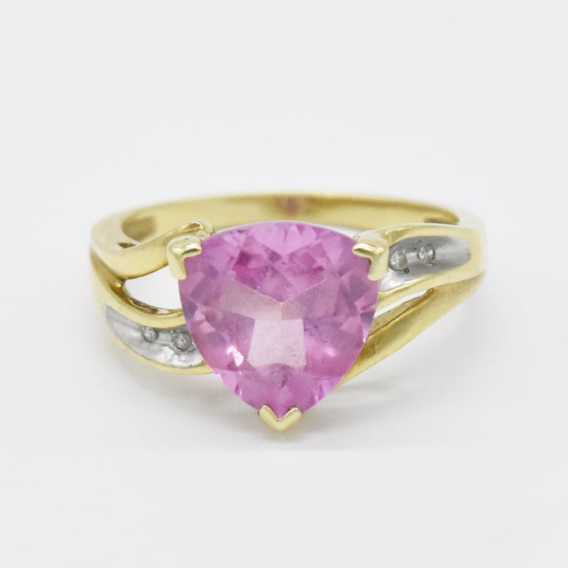 10k Yellow Gold Estate Pink Sapphire & Diamond Ring Size 7.25