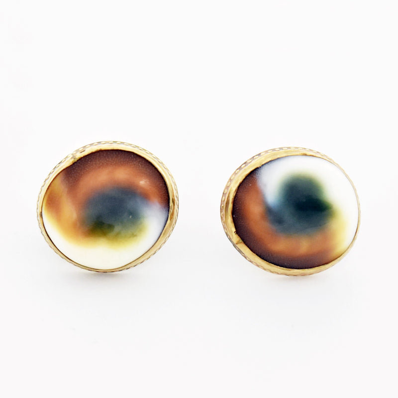 14k Yellow Gold Estate Operculum Cats Eye Sea Shell Earrings