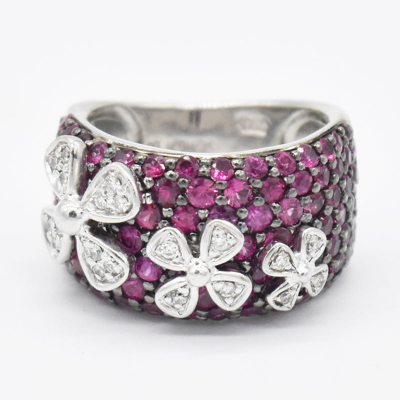 18k White Gold Designr Sonia B Ruby & Diamond Flower Band/Ring Sz 6.25