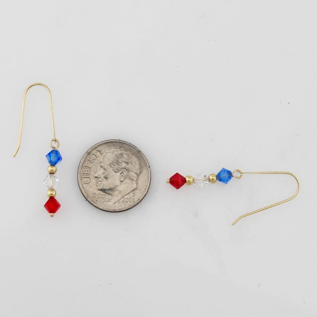 14k Yellow Gold Estate Red White & Blue Crystal Dangle/Drop Earrings