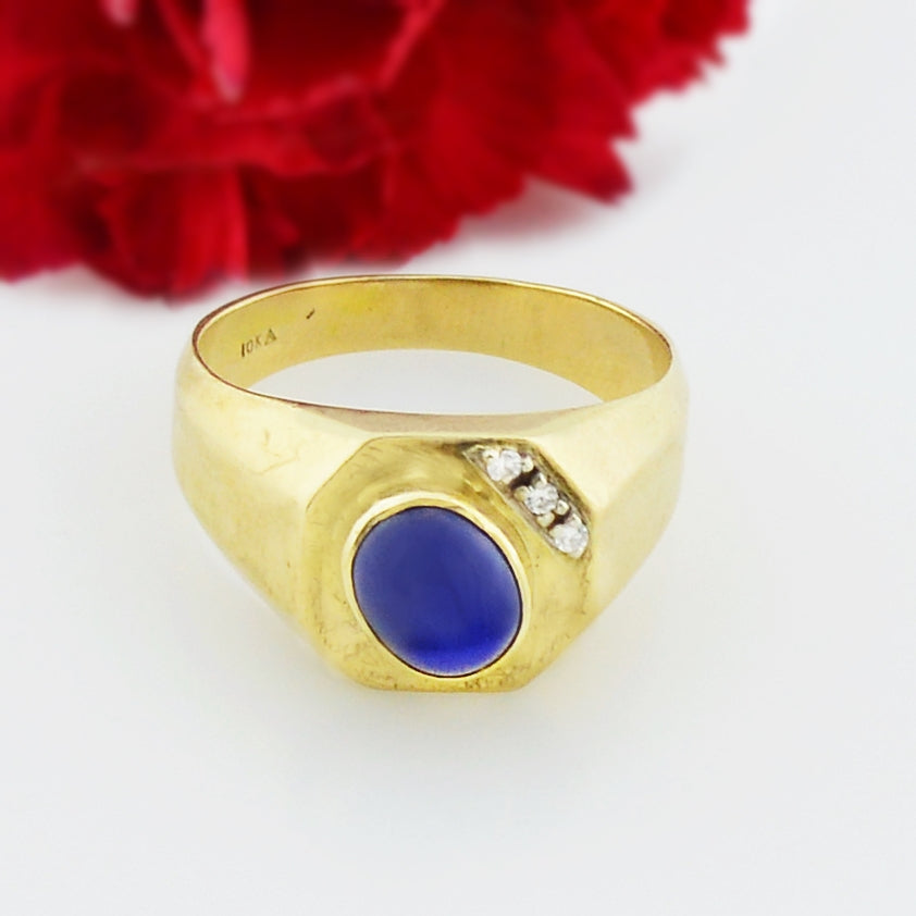 10k Yellow Gold Vintage Star Sapphire & Diamond Ring Size 11.5