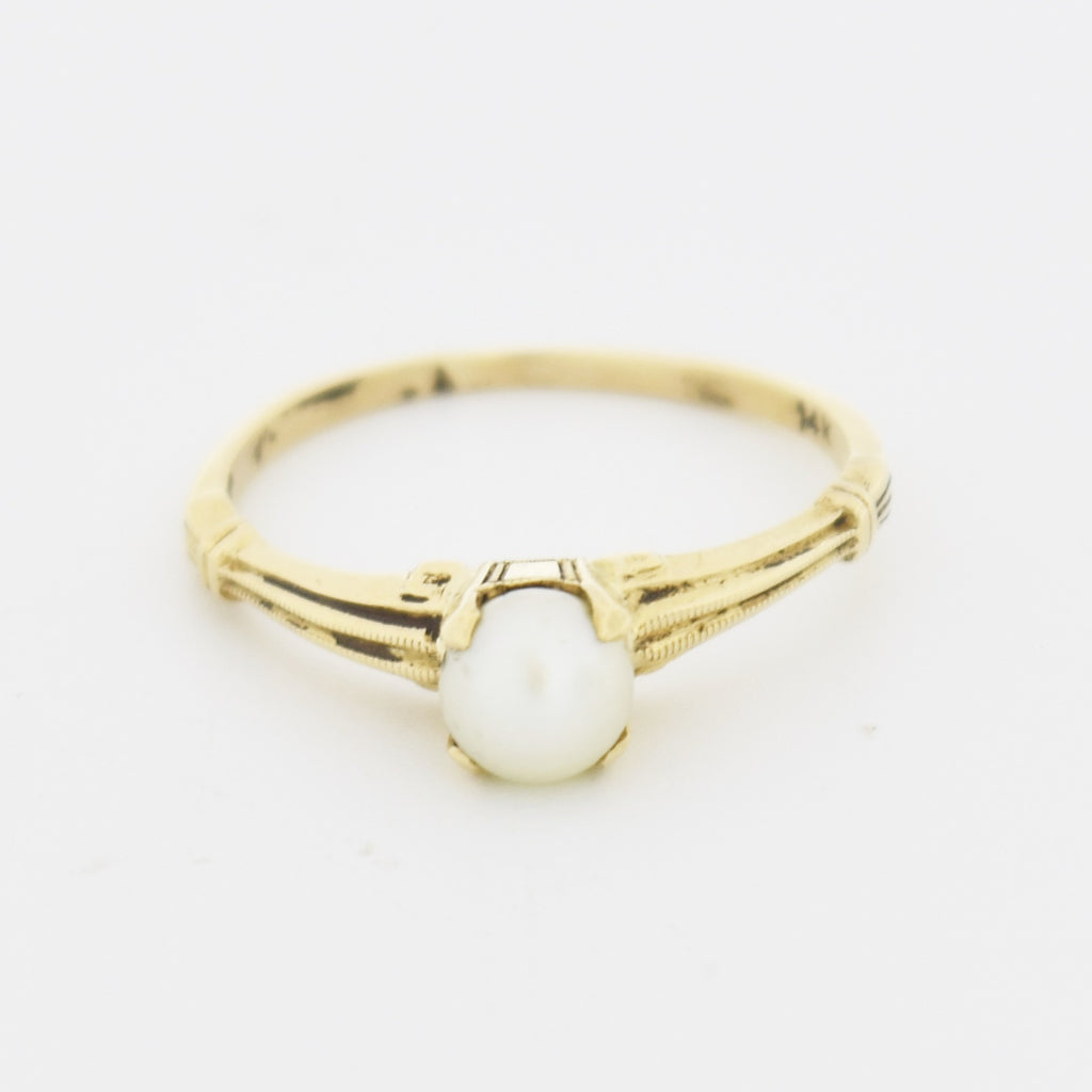 14k Yellow Gold Estate Textured Pearl Gemstone Solitaire Ring Size 8