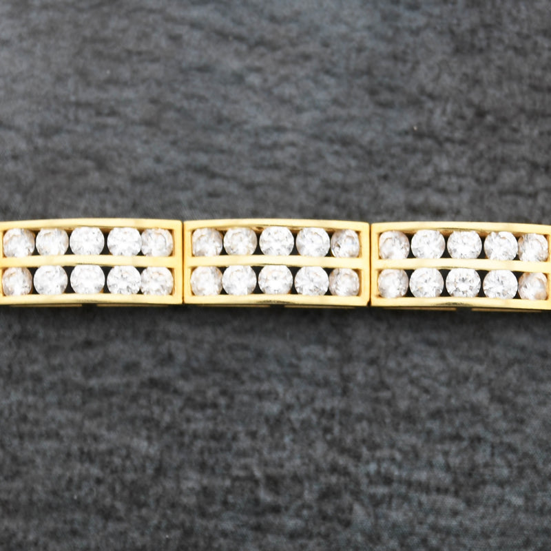 "14k Yellow Gold Estate Double Row CZ Link Bracelet 7 1/2"" Long"