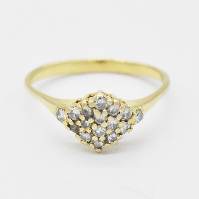 14k Yellow Gold Estate Diamond Cluster Ring Size 9.75