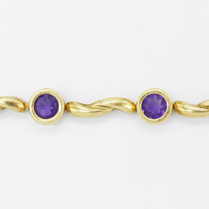 "14k Yellow Gold Estate 7.5"" Amethyst Link Bracelet"