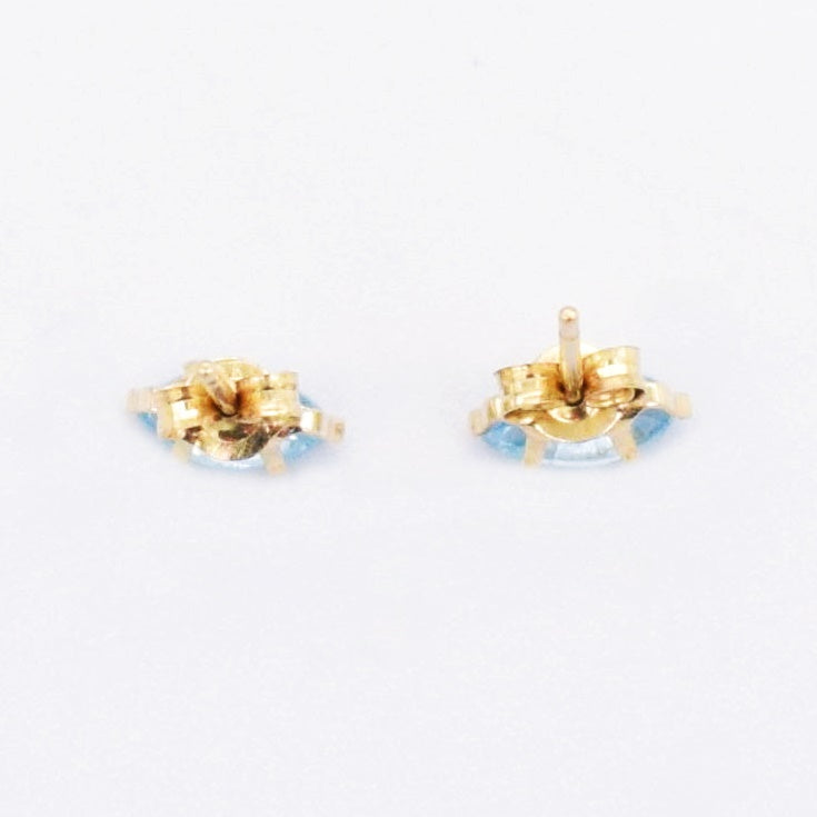 14k Yellow Gold Estate Light Blue CZ Post Earrings
