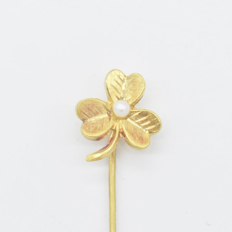 "10k Yellow Gold Vintage 3 Leaf Clover Pearl 2.75"" Stick Pin"