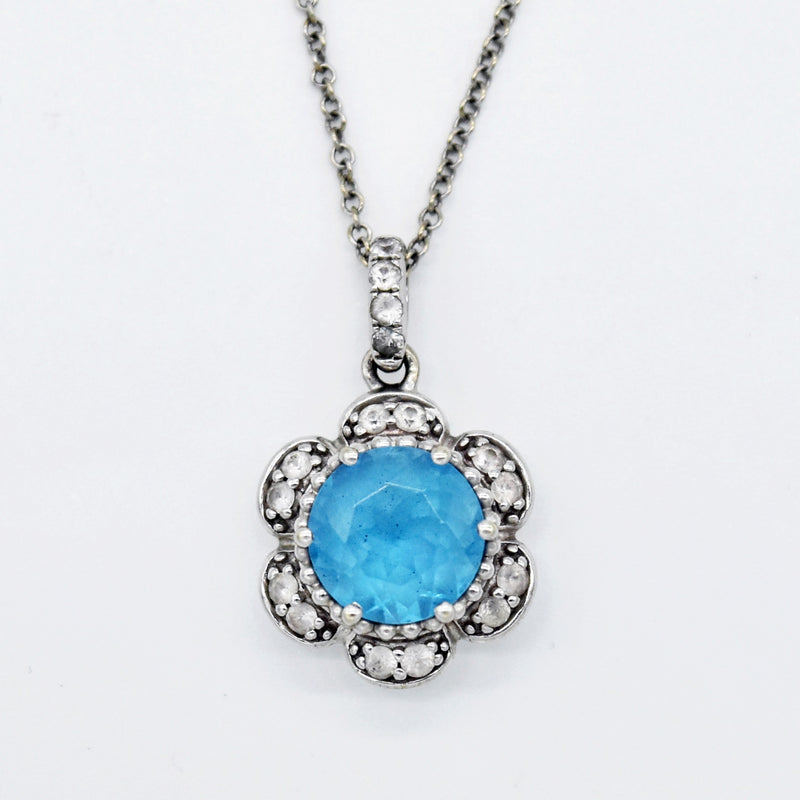"10k White Gold Estate 18.5"" Blue & White Topaz Necklace"