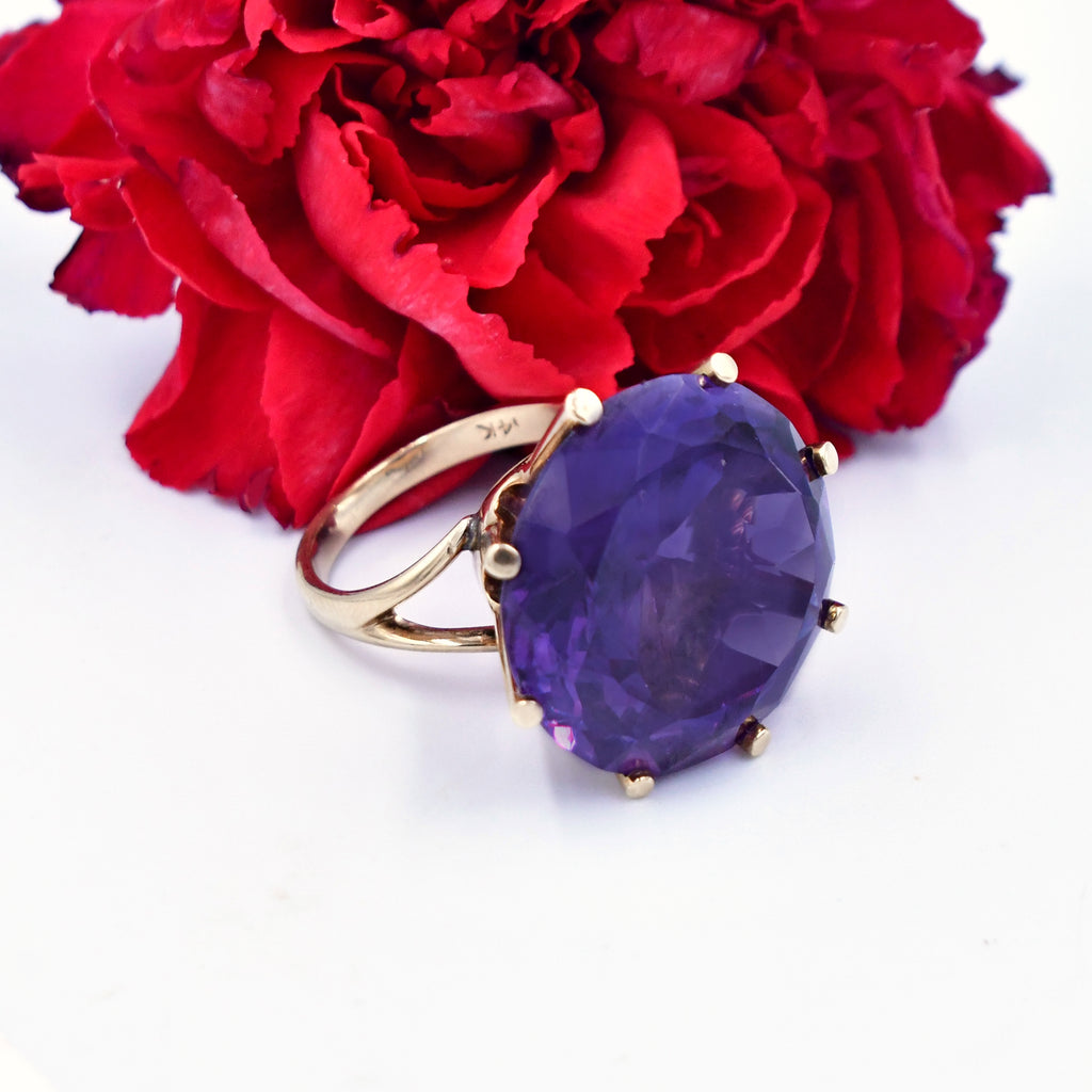 14k YG Vintage Color Change Sapphire Solitaire Ring Size 6.5