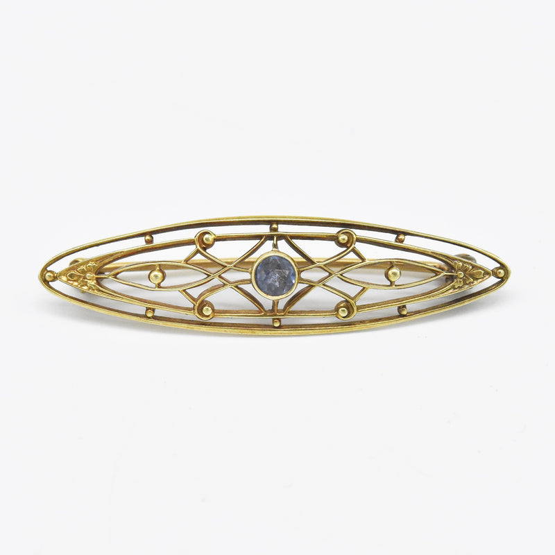 14k Yellow Gold Vintage Filigree Sapphire Pin/Brooch