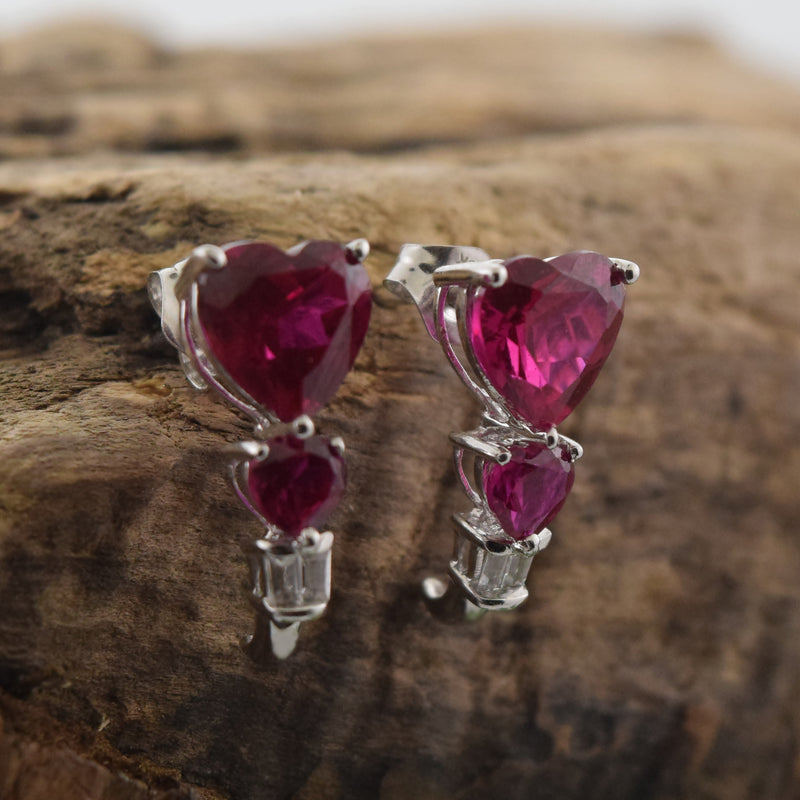 10k White Gold Ruby & White Sapphire Heart Drop/Dangle Post Earrings