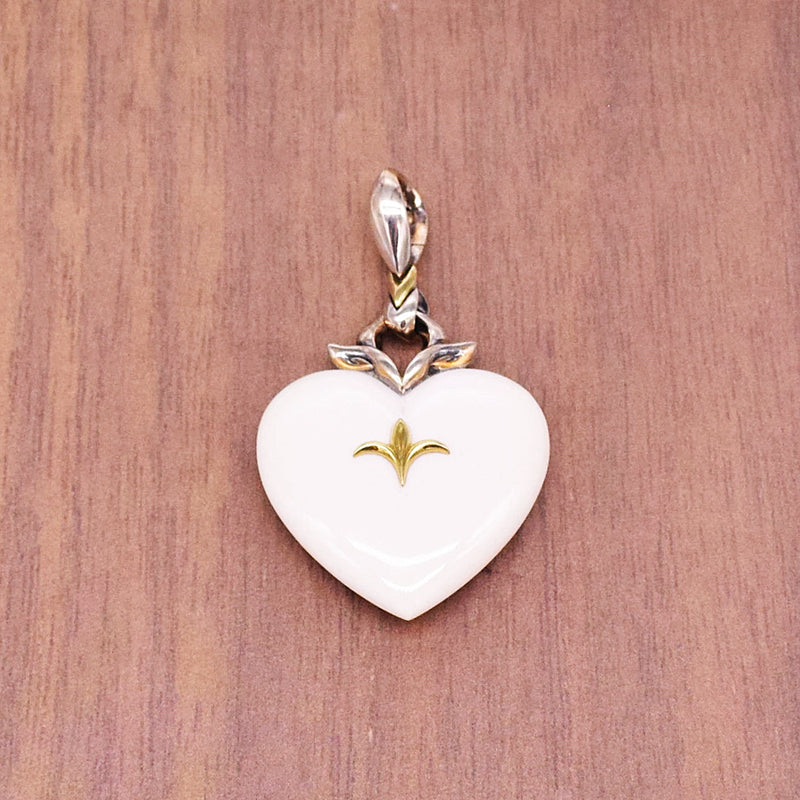 New Sterling & 18k Gold ANN KING Juliet's Passion Heart Agate Pendant