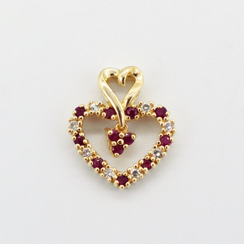 14k Yellow Gold Estate Diamond & Ruby Open Heart Pendant