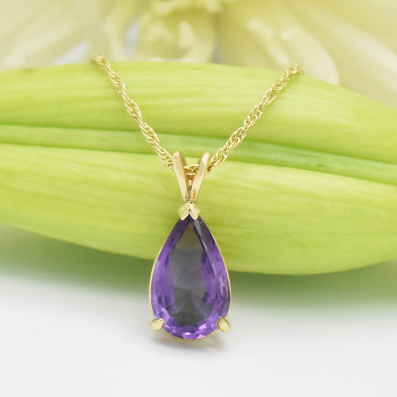"14k Yellow Gold 21"" Double Curb Link Teardrop Amethyst Necklace"
