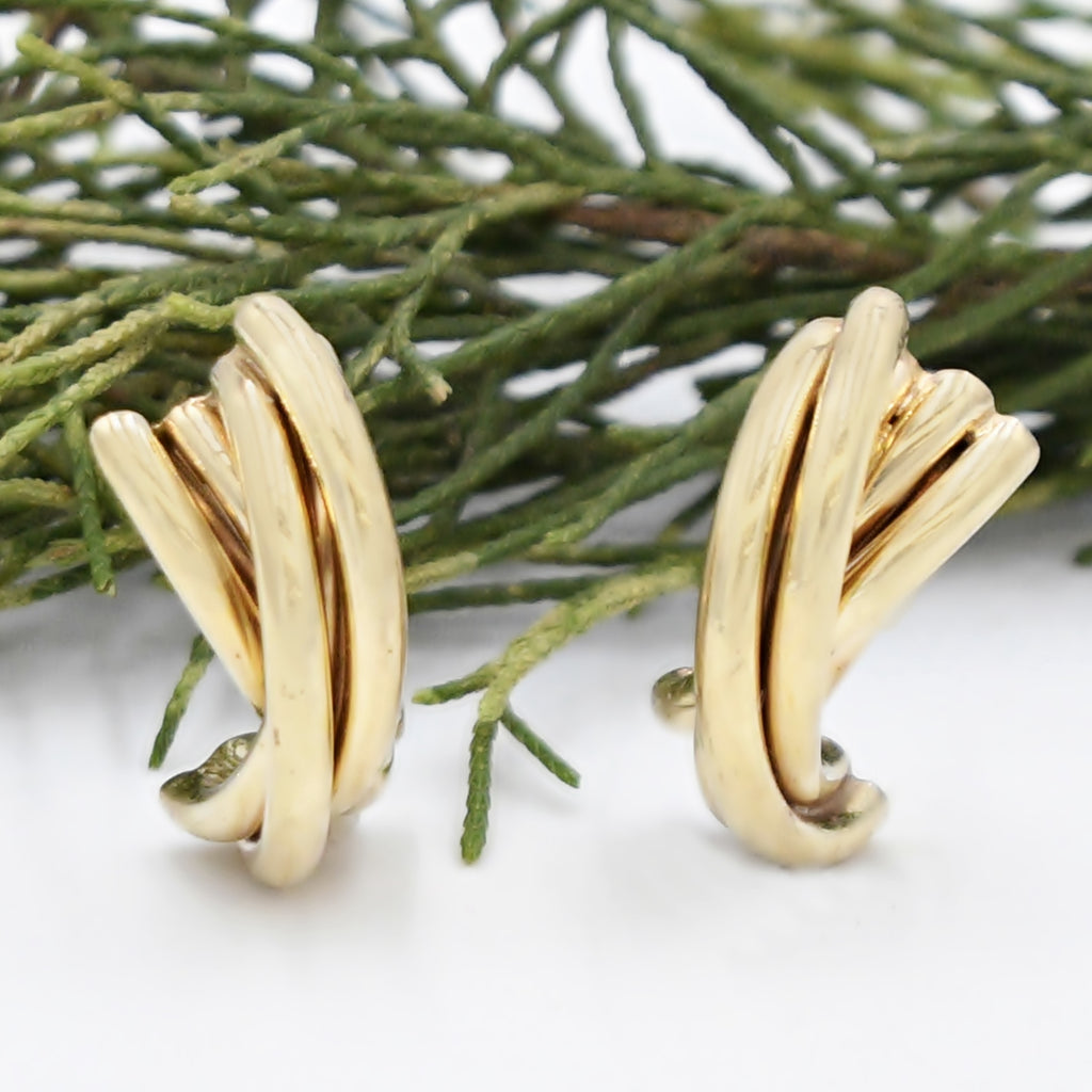 14k Yellow Gold Estate Double Twisted Post Earrings