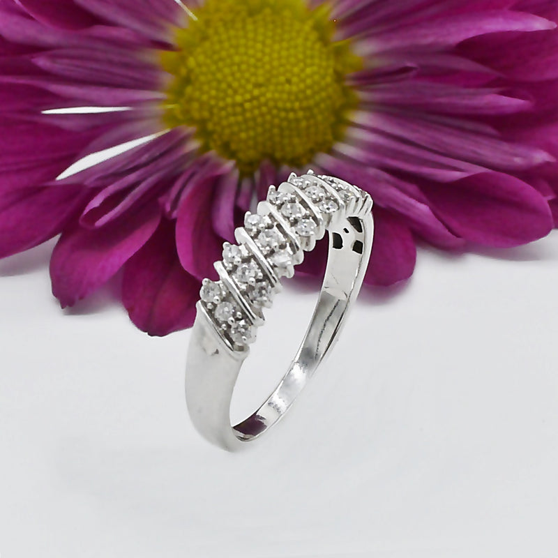 10k White Gold Estate Swirl Diamond Wedding Band/Ring Size 7