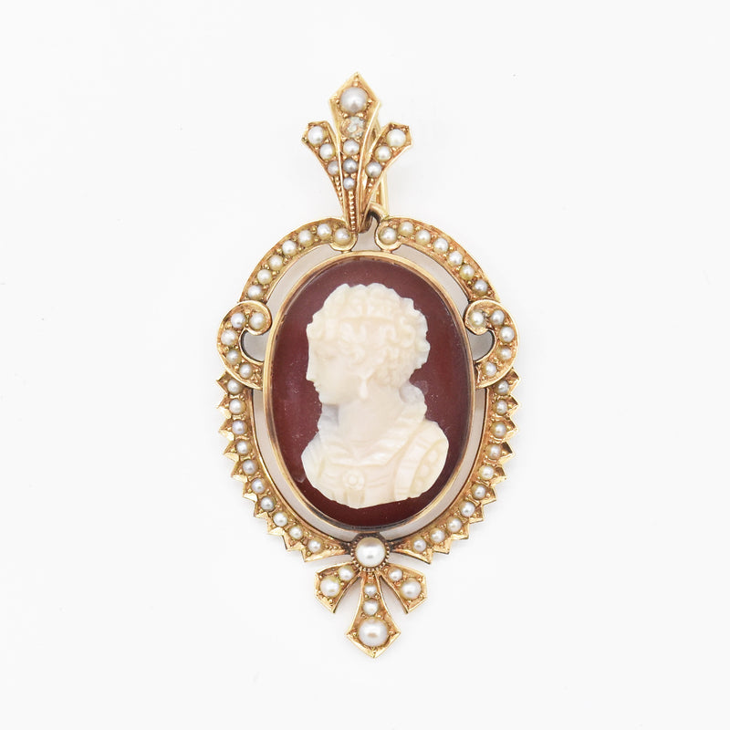 "14k Rose Gold Antique 2.25"" Carved Cameo & Pearl Pendant"